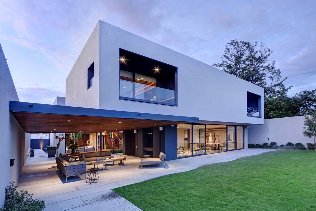 Steel concrete and stone home with central courtyard