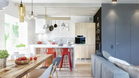 A duplex penthouse designed with scandinavian aesthetics industrial elements includes floor plans
