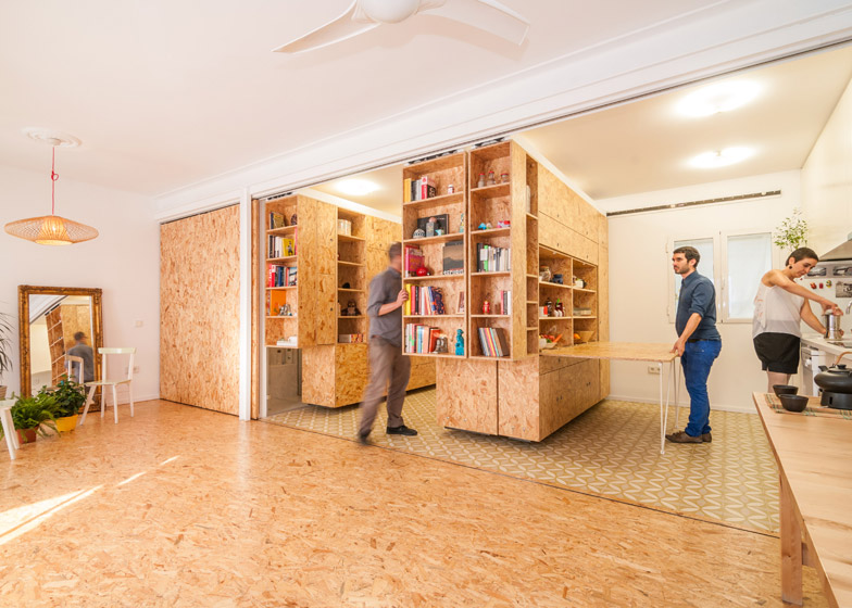 Osb design small apartment uses movable shelving to create endless design combinations