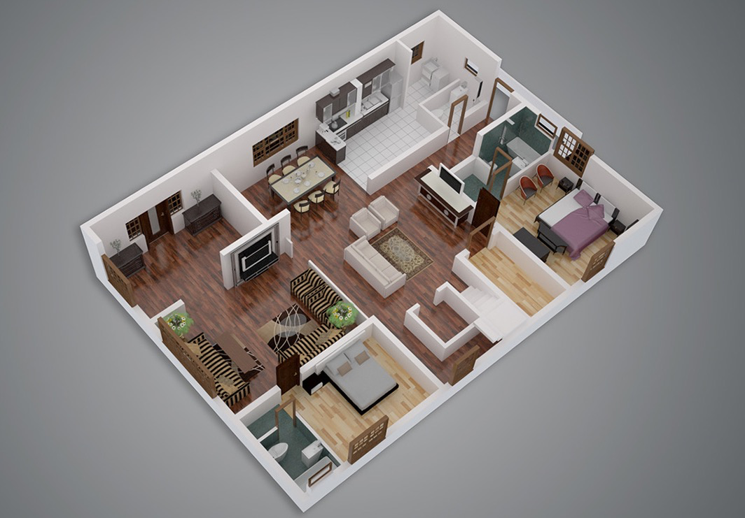 Tiny Home Design App: 25 Two Bedroom House/Apartment Floor Plans