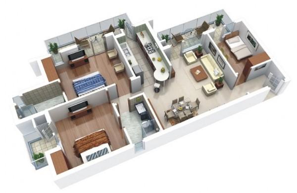 Các phòng ngủ trong cách bố trí này là đặc biệt rộng rãi, và bao gồm một phòng ngủ cho khách ra khỏi phòng khách.