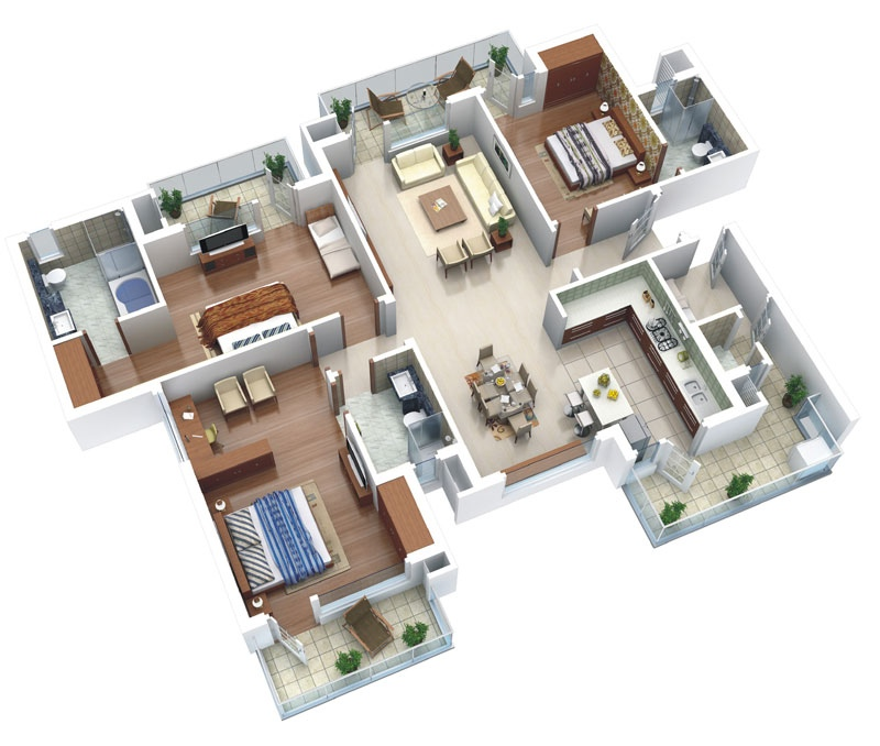 25 More 3 Bedroom 3d Floor Plans: 25 Three Bedroom House/Apartment Floor Plans