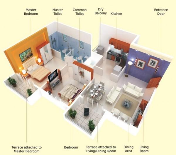 Một căn hộ hai phòng ngủ thậm chí có thể được thanh lịch như đã chứng minh trong thiết kế này, với nhiều không gian mở sàn và hai sân hiên riêng.