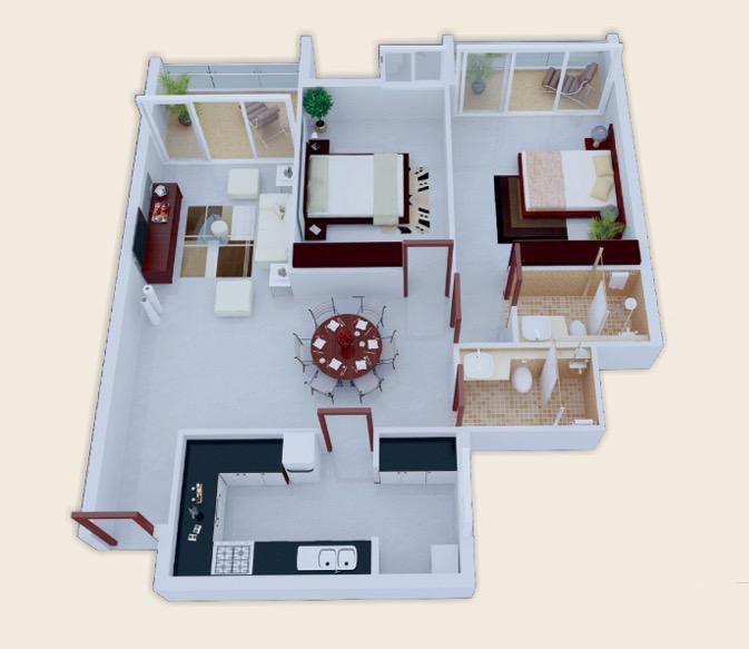 Home Design 3d 2 Bhk: 25 More 2 Bedroom 3D Floor Plans