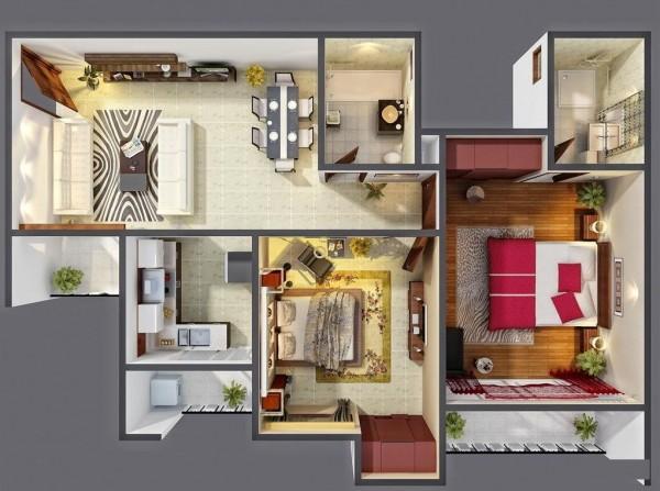 Trong một ví dụ khác về hiệu quả, căn hộ này phòng ngủ hai có một nơi dành cho tất cả mọi thứ (và tất cả mọi thứ được đặt đúng chỗ của nó).