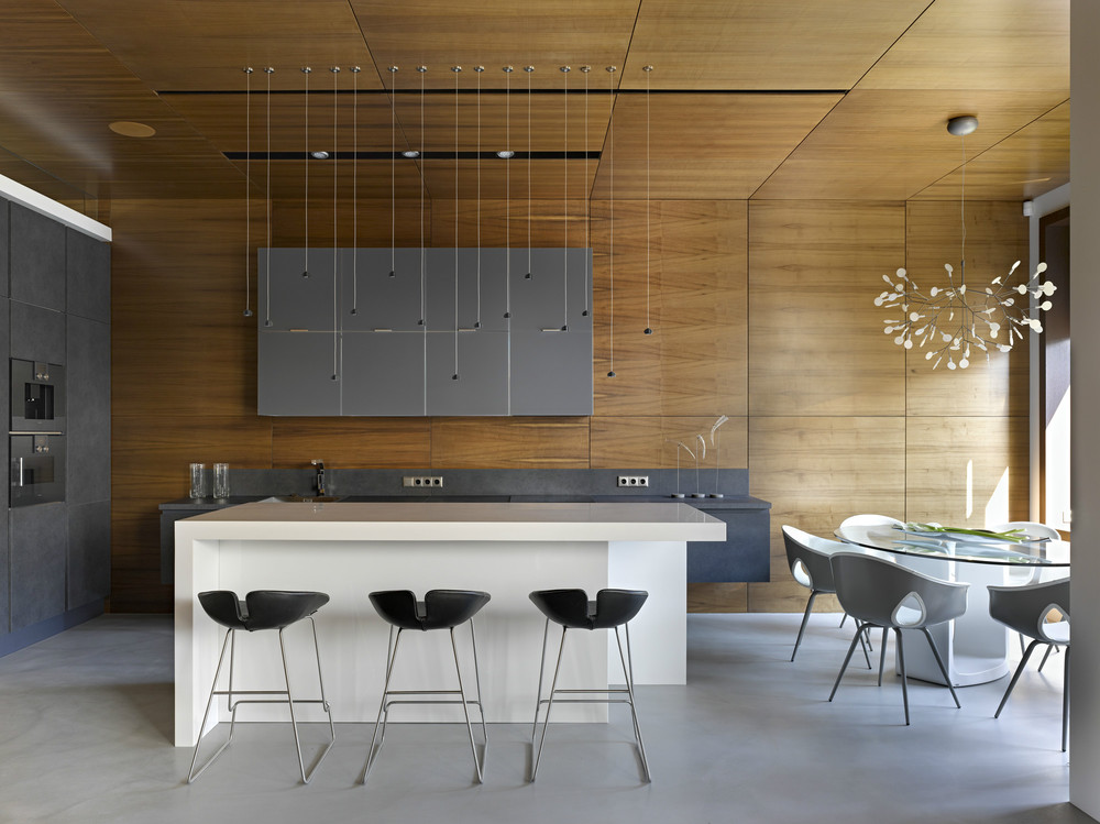 Modern barstools invisible doors turn a home into an artistic feat of design