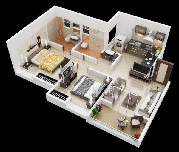 Home 3d Design Online Minimalist: 25 More 2 Bedroom 3D Floor Plans