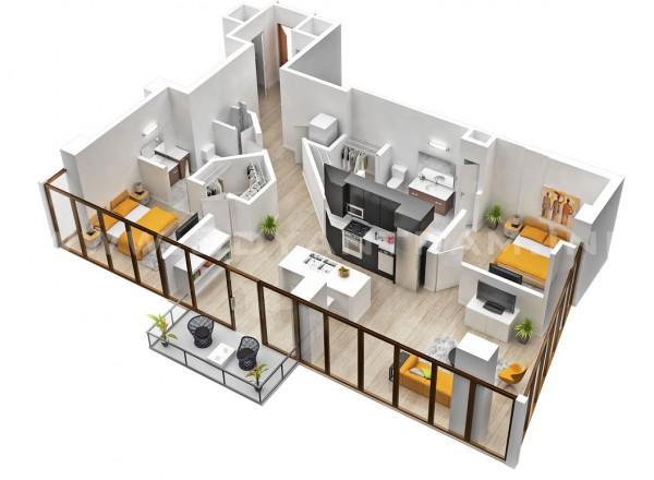 Căn hộ sống không có nghĩa là phải từ bỏ ý tưởng về một kế hoạch mở sàn.  Căn hộ này có phòng ngủ riêng nhưng các nhà bếp, phòng khách và khu vực ăn được tất cả các phép lưu với nhau cho một cảm giác rất hiện đại.