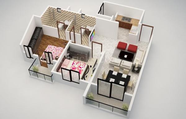 Các thiết kế hoàn hảo cho một đôi bạn cùng phòng, hai phòng ngủ này pares điều xuống để các yếu tố cần thiết với một nhà bếp nhỏ, khu vực tiếp khách nhỏ và phòng ăn thân mật.