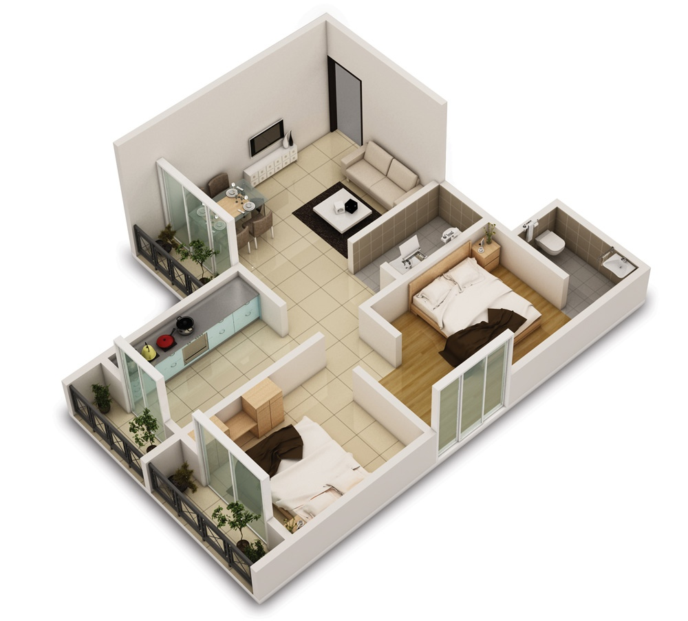25 Two Bedroom House/Apartment Floor Plans