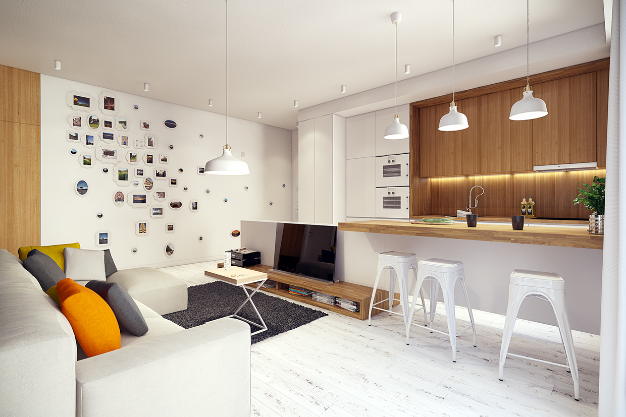 white living room design | 2 Sunny Apartments with Quirky Design Elements