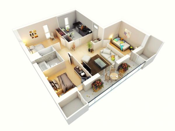 Denah Rumah Minimalis 3 Kamar Tidur 3D 12