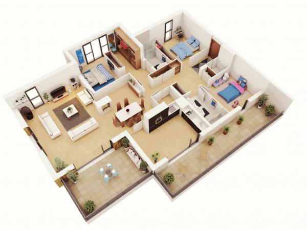 Denah Rumah Minimalis 3 Kamar Tidur 3D 8