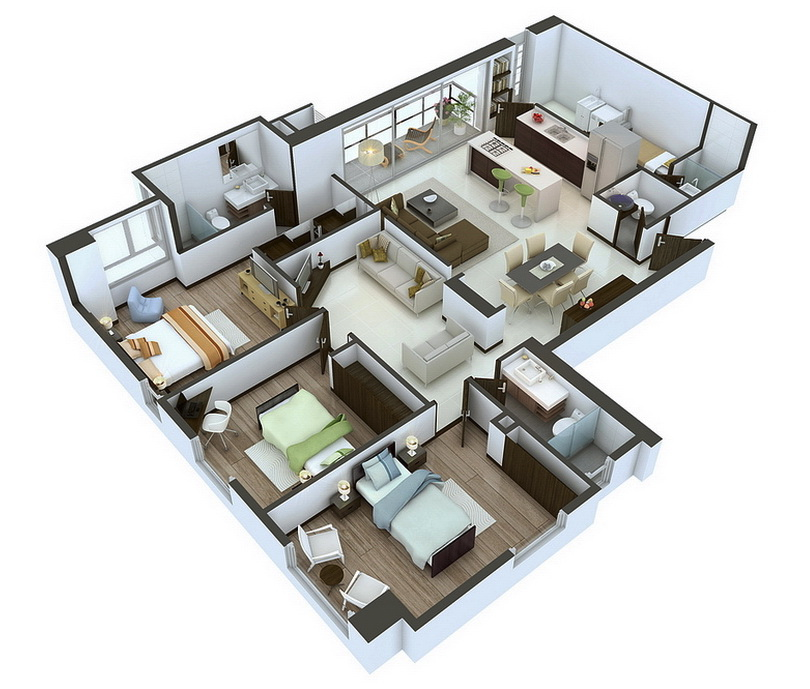 Bungalow 3d Floor Plan: 25 More 3 Bedroom 3D Floor Plans
