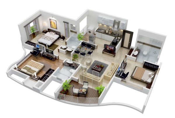 Denah Rumah Minimalis 3 Kamar Tidur 3D 20