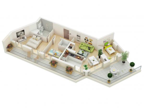 Denah Rumah Minimalis 3 Kamar Tidur 3D 6