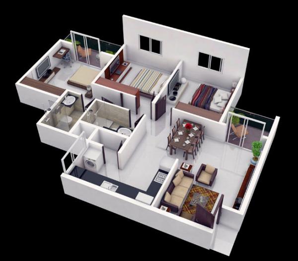 Denah Rumah Minimalis 3 Kamar Tidur 3D 19