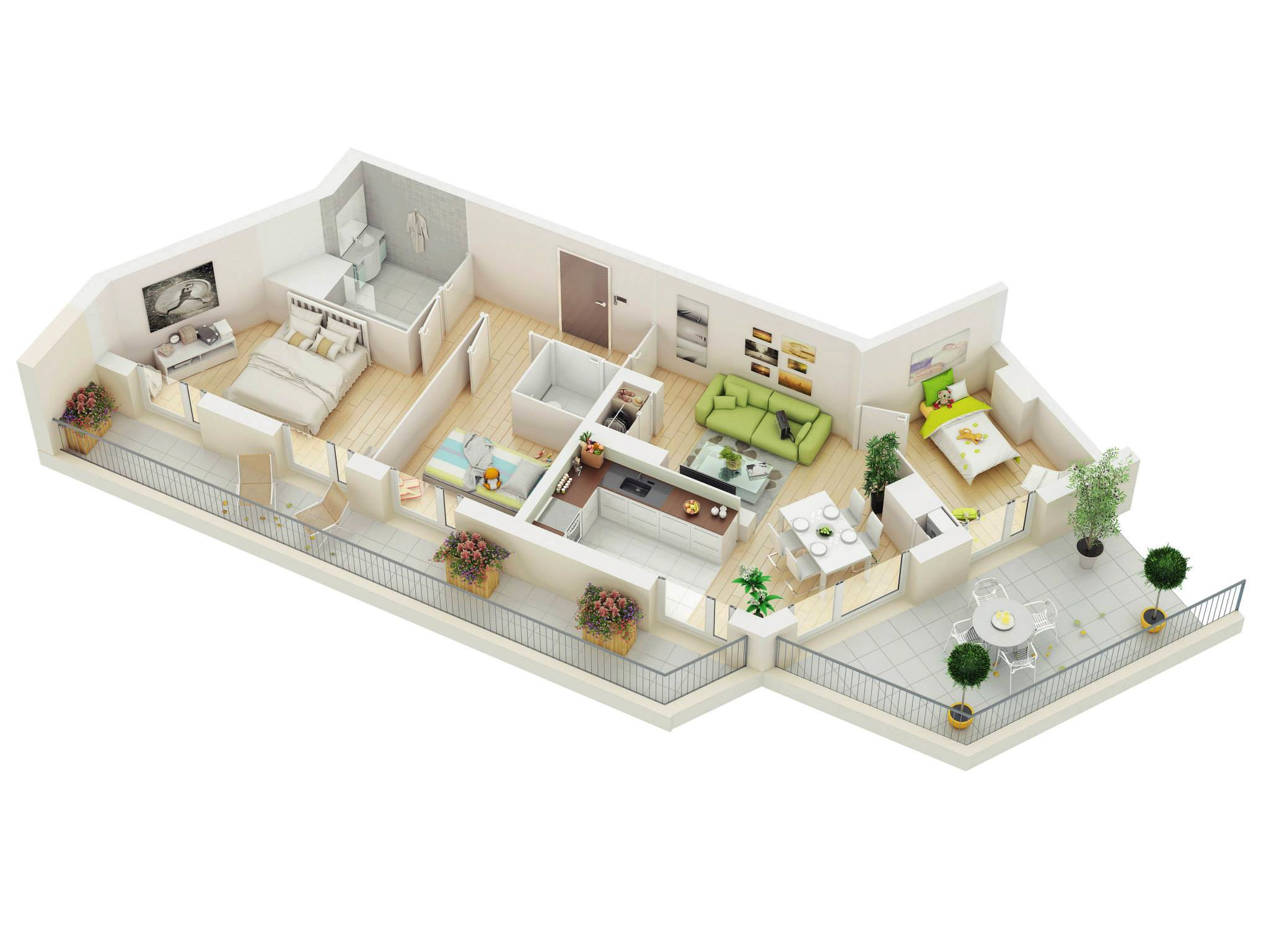 Cheap One Bedroom Apartments In Orlando 25 More 3 Bedroom 3d Floor Plans