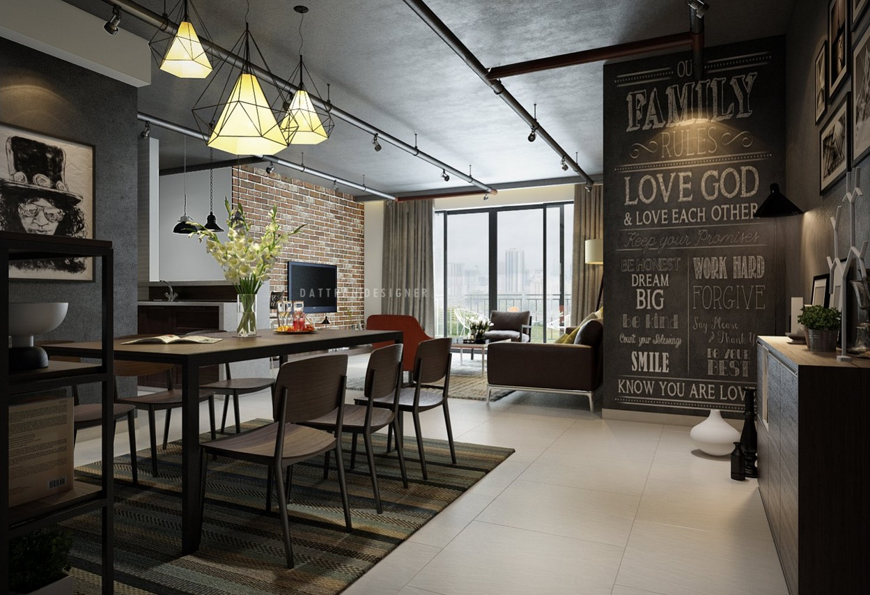 chalkboard in living room 5 houses that put a modern twist on exposed brick 14798