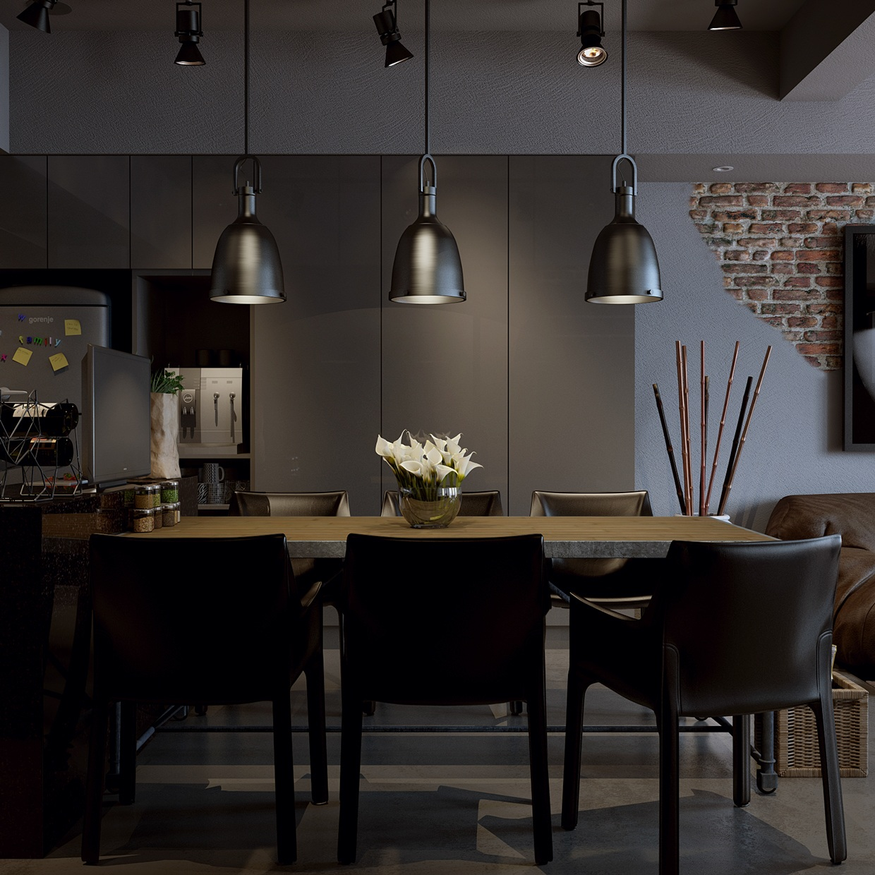 Dark Dining Room: Dark-modern-dining-room
