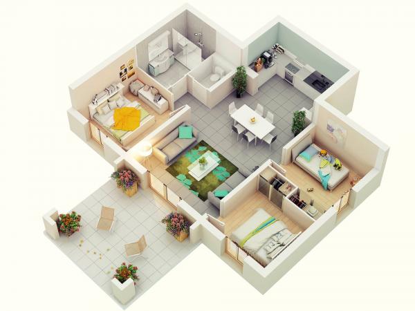 Denah Rumah Minimalis 3 Kamar Tidur 3D 7