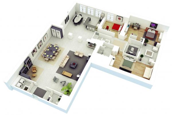 Denah Rumah Minimalis 3 Kamar Tidur 3D 4