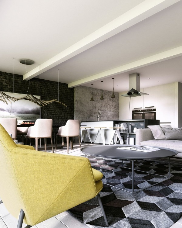 100 Elm Drive West Room 117 Black And White Geometric Rug