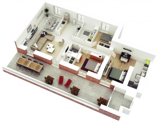 Denah Rumah Minimalis 3 Kamar Tidur 3D 1