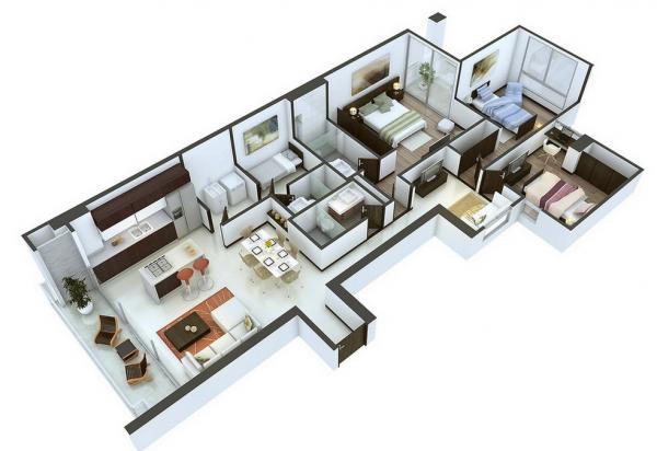 Denah Rumah Minimalis 3 Kamar Tidur 3D 16