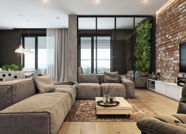 The look contrasts with the smooth finished wood floors and highly modern furnishings for a trendy unfinished feel