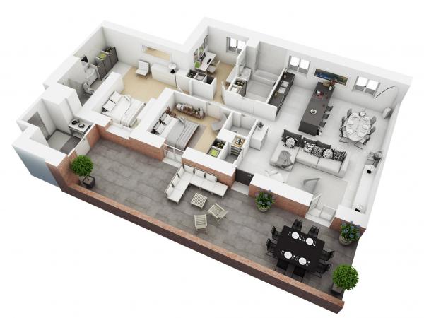 Denah Rumah Minimalis 3 Kamar Tidur 3D 2