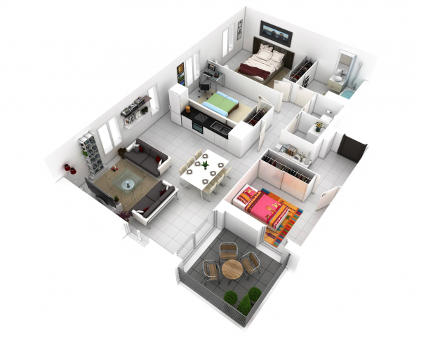 Denah Rumah Minimalis 3 Kamar Tidur 3D 9