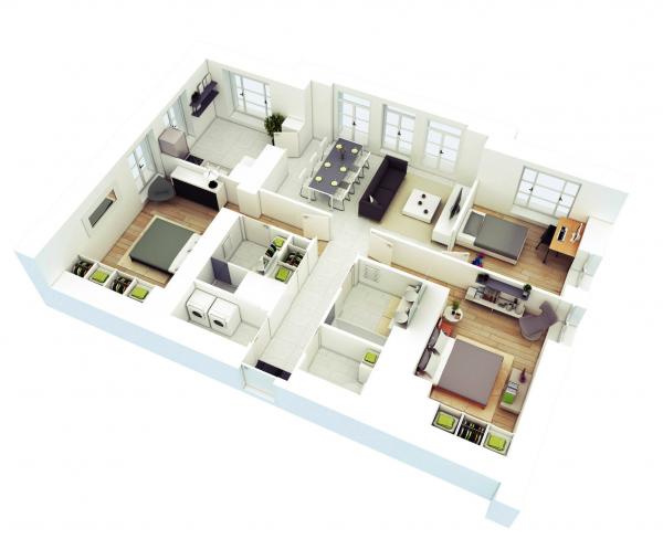 Denah Rumah Minimalis 3 Kamar Tidur 3D 5