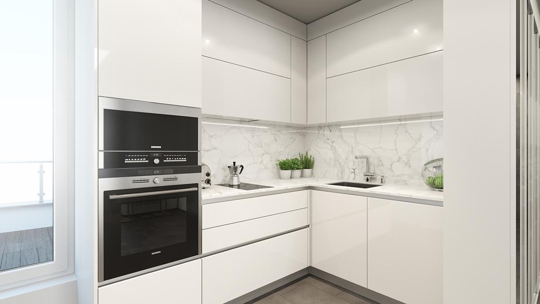 White Marble Backsplash Interior