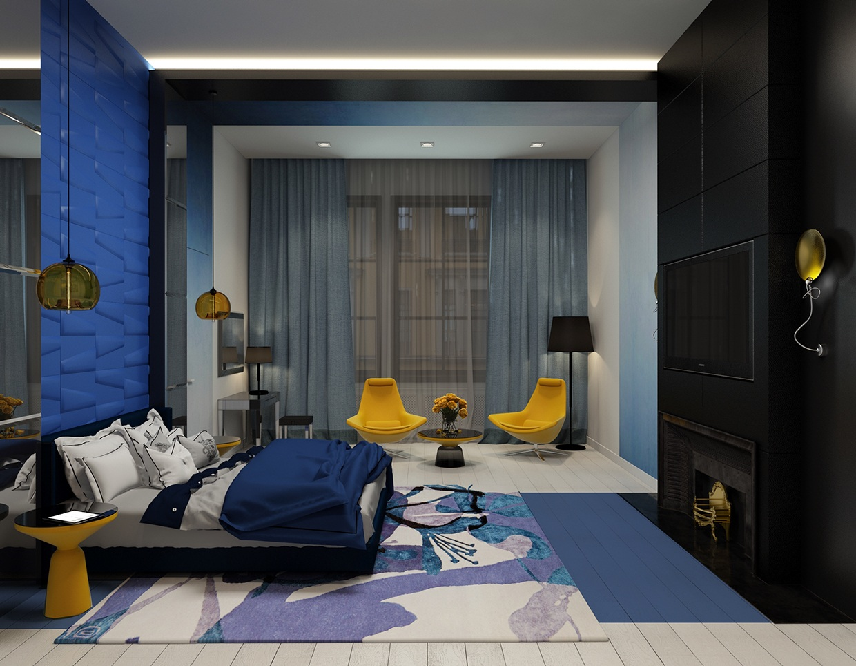 blue-bedroom-accent-wall | Interior Design Ideas.