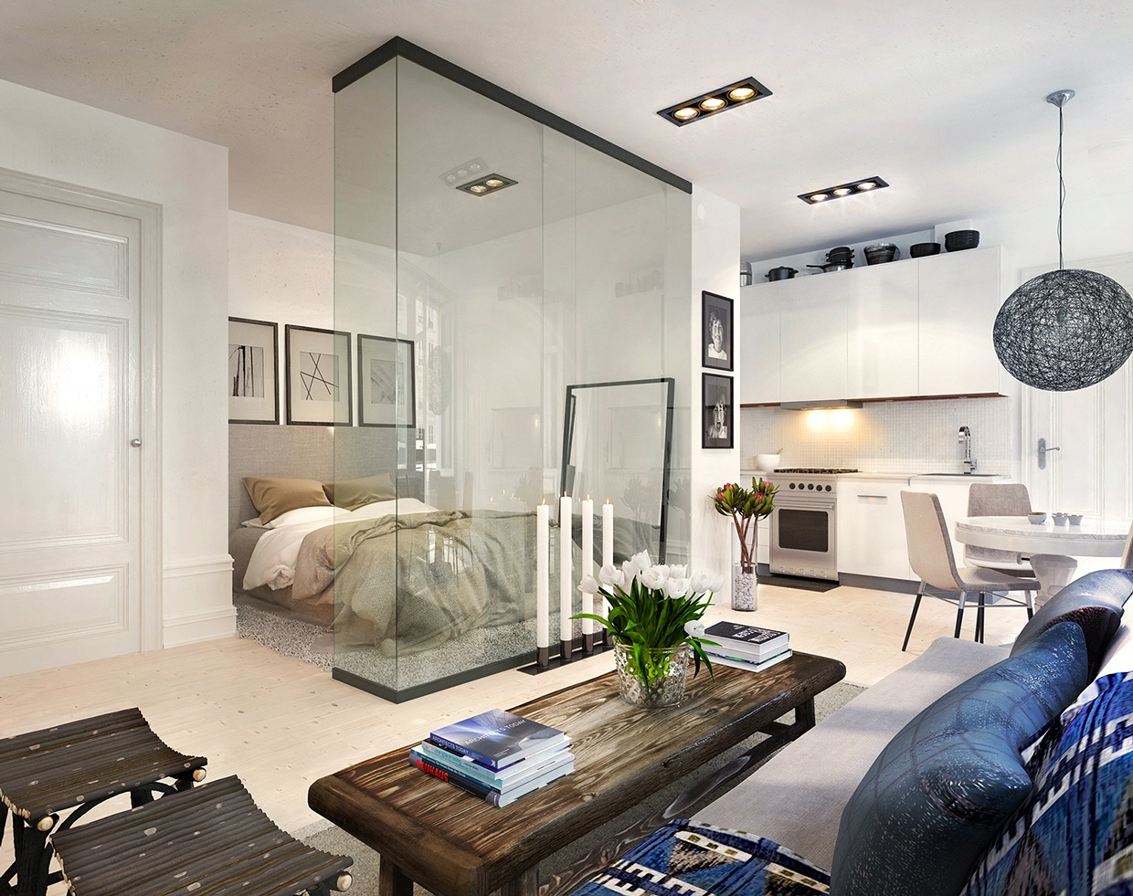 Ultimate studio design inspiration 12 gorgeous apartments - Interior glass wall designs for houses ...