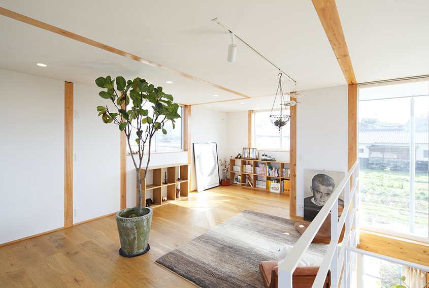Style simplicity in a japanese countryside prefab home