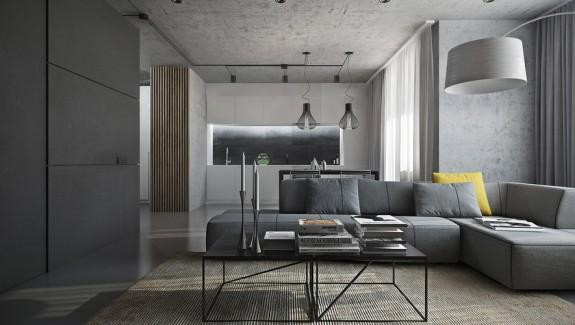 Dark themed interiors using grey effectively for interior design