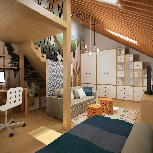 3 creative top floor rooms with wood accents modern murphy bed · the final room comes from the designers at takk interior design it also features a