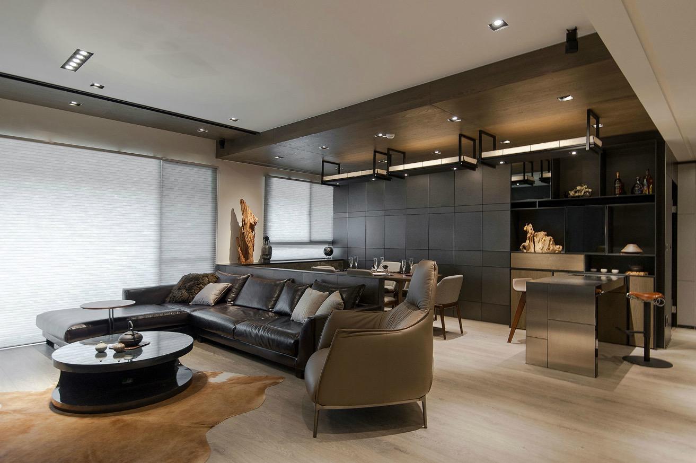 Stone and wood make a dark masculine interior - Interior design kitchen dining room ...