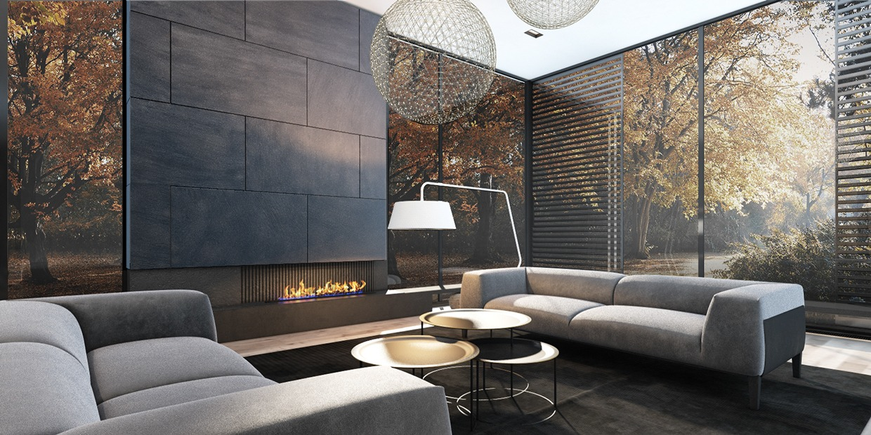 Modern fireplace three luxury homes in cool neutral tones