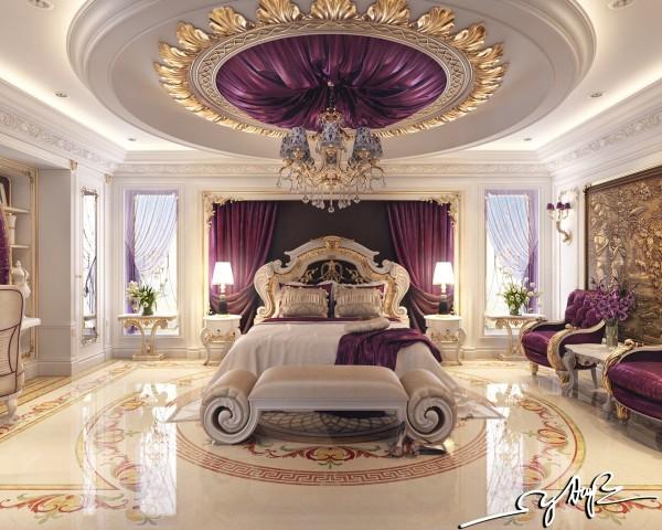 Phòng ngủ này có xu hướng đối với những gì hầu hết mọi người có thể hình dung khi họ ước mơ xa xỉ.  Rick thảm trang trí màu tím trên mọi bề mặt, sàn đá cẩm thạch hoàn toàn đánh bóng, và rất nhiều và rất nhiều lá vàng.