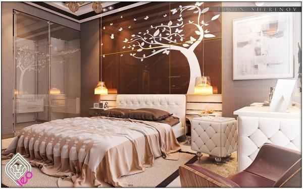 Các đồ họa cây oversized thực sự mang lại cho phòng ngủ một đầu mối.  Bộ trải giường màu nâu Chocolatey và các bức tường trung tính nhưng vẫn giàu có trong khi một vanity và kim loại tuyệt đẹp điểm nhấn làm cho một giấc mơ Lọ Lem hiện đại.