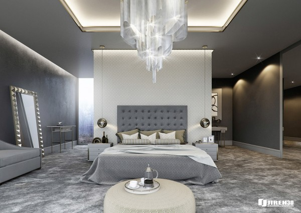The first bedroom here designed by mauritz snyman uses soft and soothing grays and