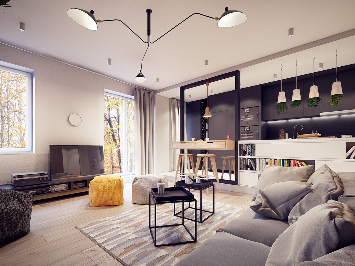 a 60s inspired apartment with a creative layout and upbeat. Black Bedroom Furniture Sets. Home Design Ideas