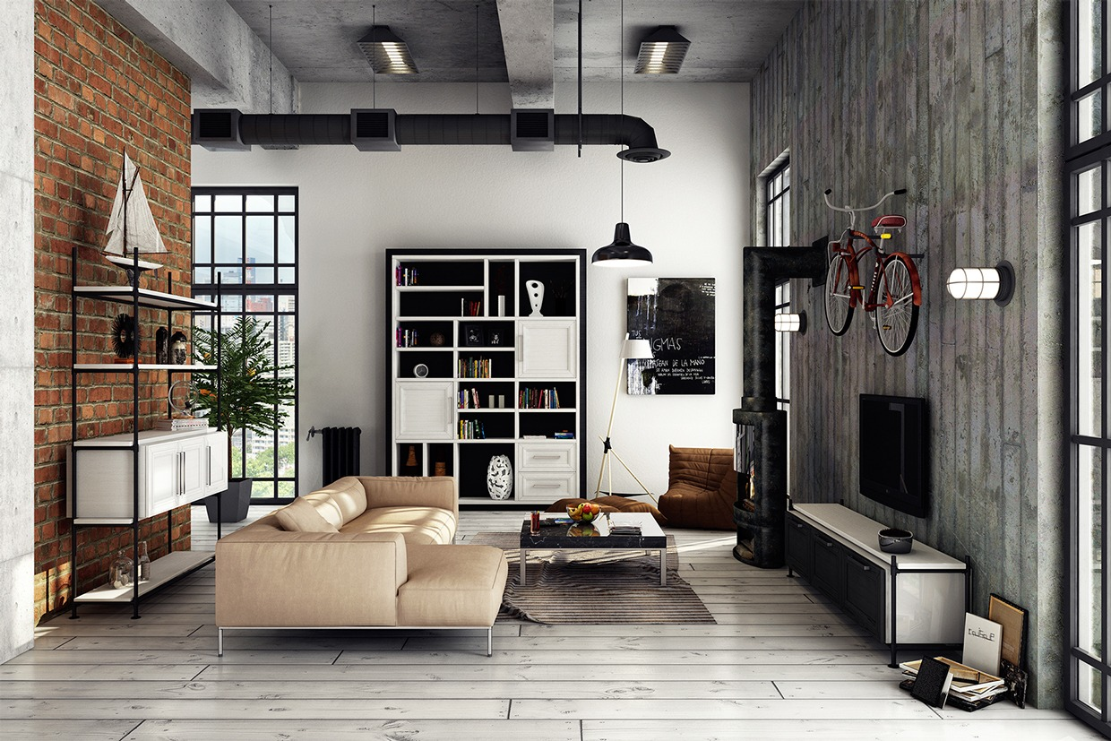3 stylish industrial inspired loft interiors for Salotto arredamento