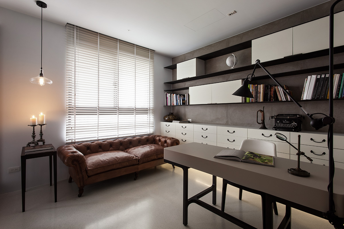 Contemporary Office With Antique Sofa Interior Design Ideas