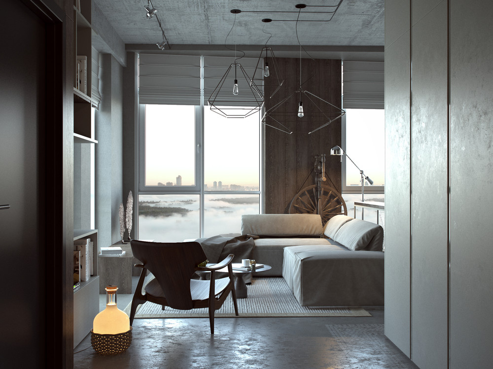 industrial studio apartment.  3 Open Studio Apartment Designs