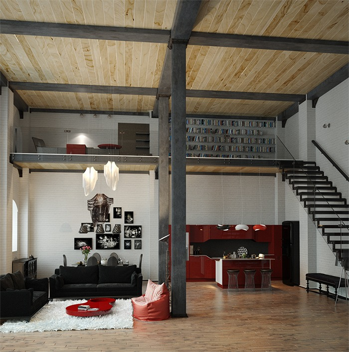 15 Amazing Interior Design Ideas For Modern Loft: Industrial-loft-apartment