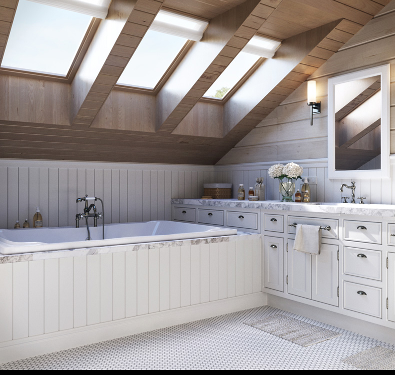 Attic Bathroom: 2 Provence Style Apartment Designs With Floor Plans